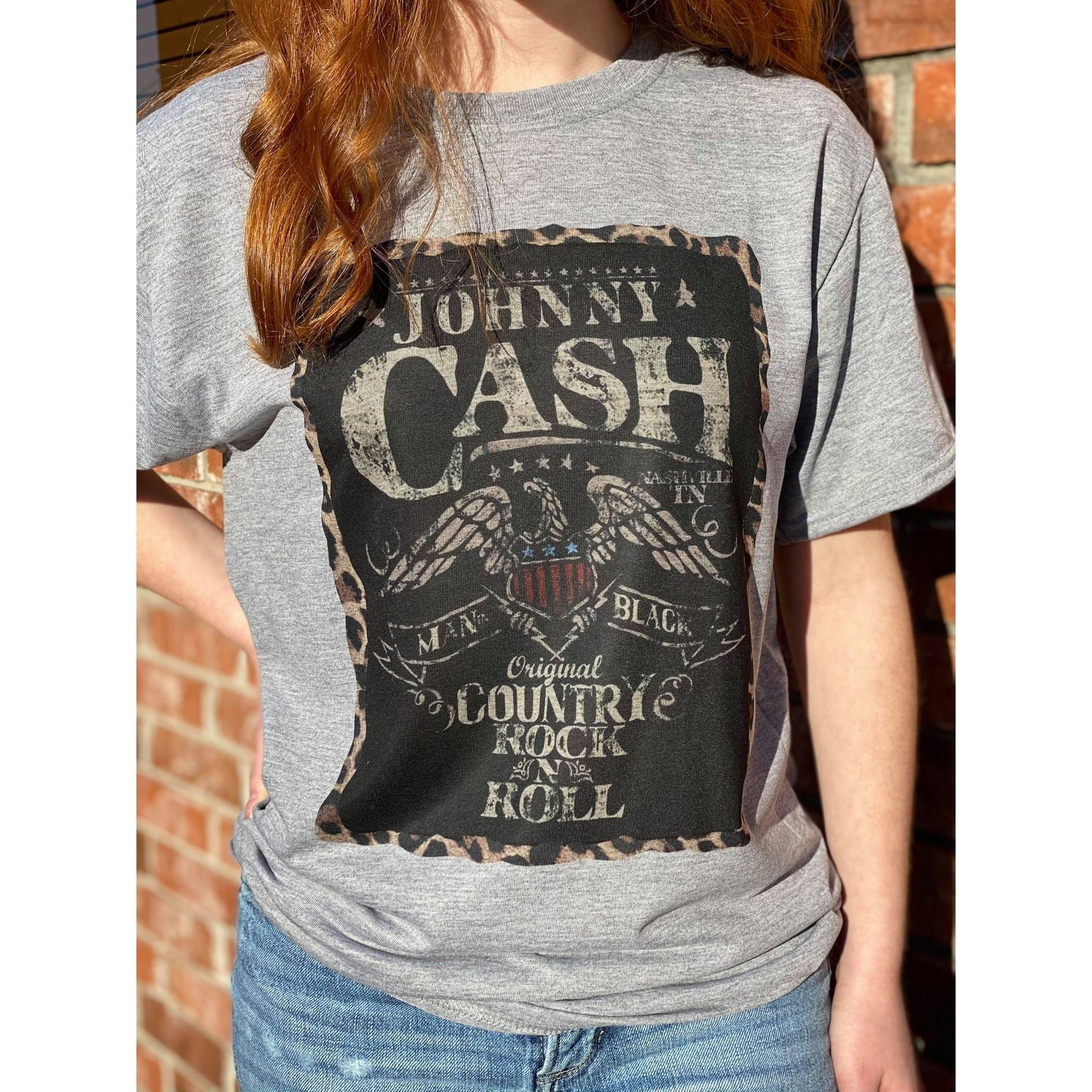 Johnny Cash Man in Black Graphic T Shirt