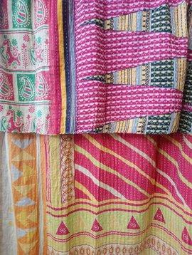 Kantha Sari Throw Blanket #670