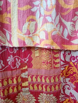 Kantha Sari Throw Blanket #559