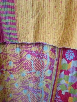 Kantha Sari Throw Blanket #695