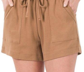 Camel Cotton Drawstring Shorts