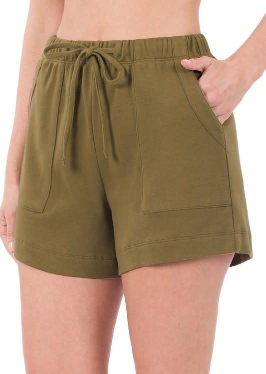 Dusty Olive Cotton Drawstring Shorts