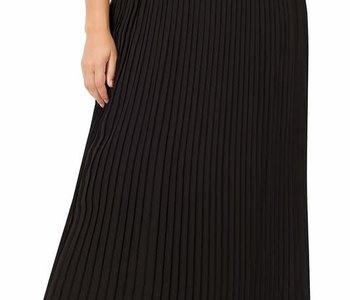 CURVY Pleated Chiffon Maxi Skirt