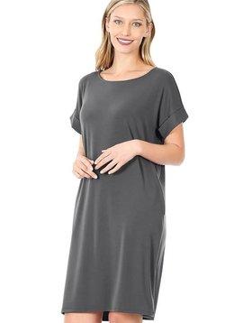 Ash Gray Rolled Sleeve Shirt Dress