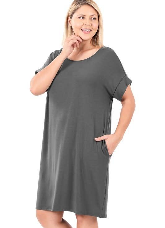 CURVY Ash Gray Rolled Sleeve Shirt Dress
