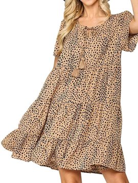 Latte Dot Tiered Dress