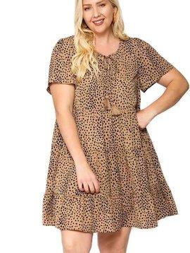 CURVY Latte Dot Tiered Dress
