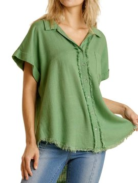 Sage Green Frayed Button Down Top