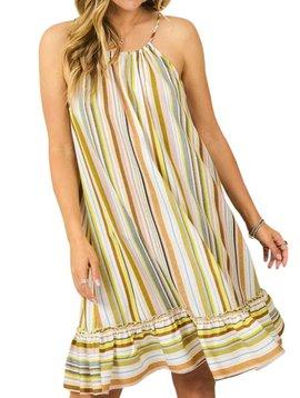 Multi Stripe Ruffle Hem Dress