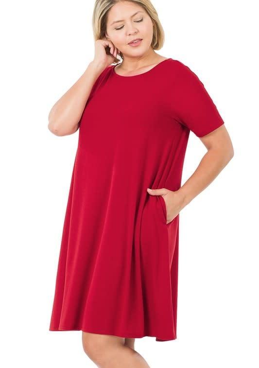 CURVY Dark Red Short Sleeve Swing Dress