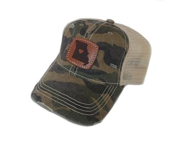 Camo Missouri Heart Leather Patch Cap