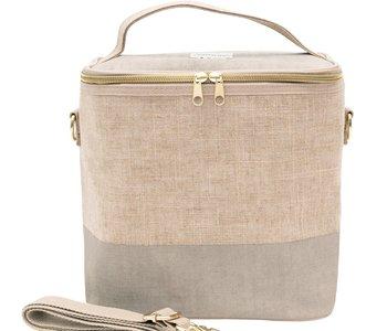Linen Color Block Lunch Tote Bag