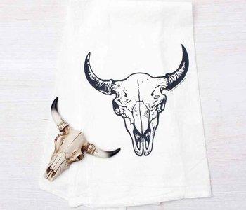 Buffalo Skull Flour Sack Tea Towel