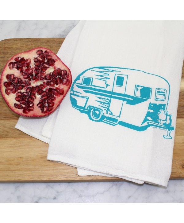 Camper Trailer Flour Sack Tea Towel