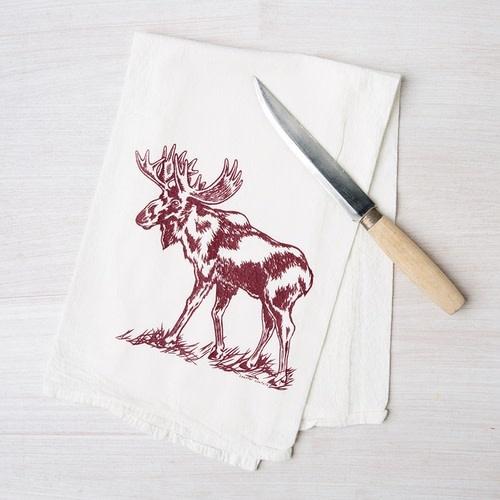 Moose Flour Sack Tea Towel