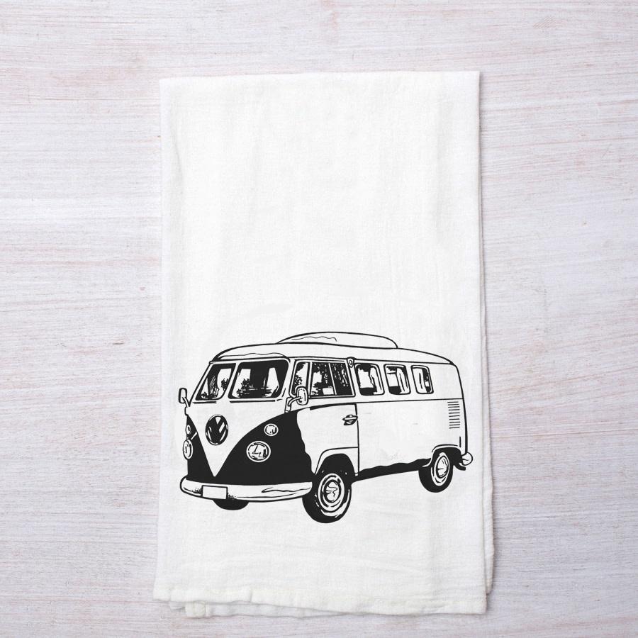 Retro Bus Flour Sack Tea Towel