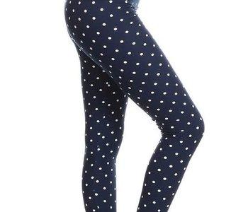 CURVY Navy Polka Dot Yoga Legging