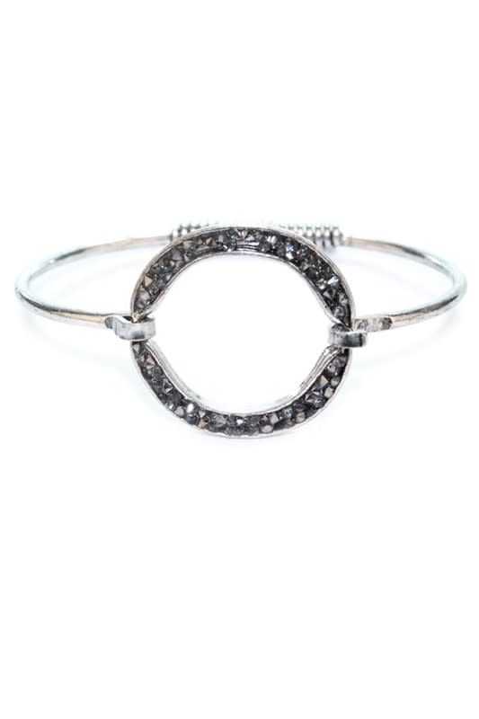 Silver Rhinestone Bangle Bracelet