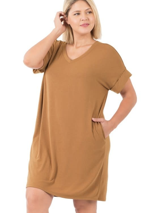 CURVY Camel Rolled Sleeve Dress