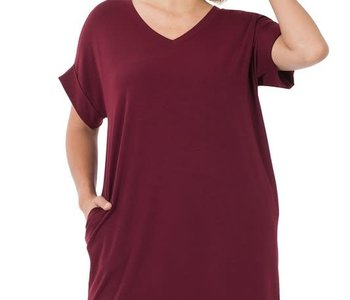 CURVY Burgundy Rolled Sleeve Dress
