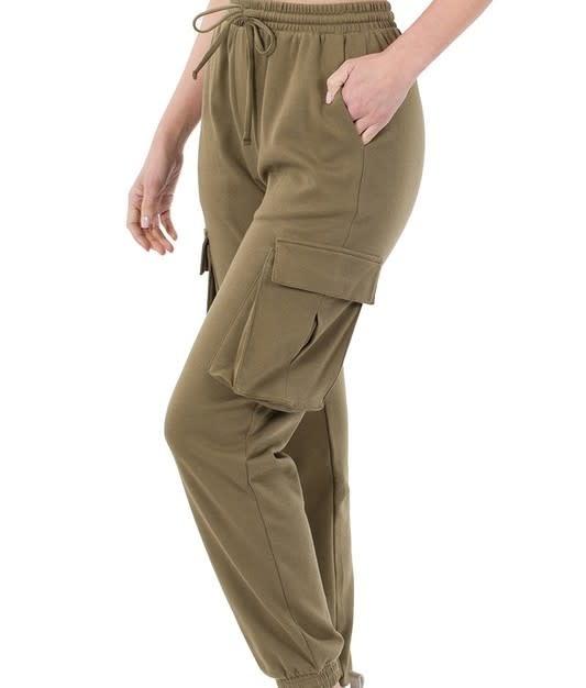 Dusty Olive Cargo Jogger Pants
