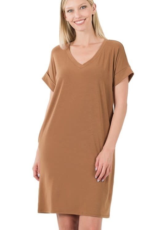 Cocoa Rolled Sleeve Dress