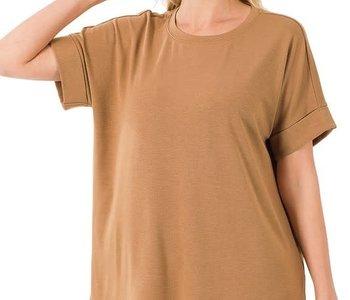 Camel Rolled Sleeve Hi Low Hem Top