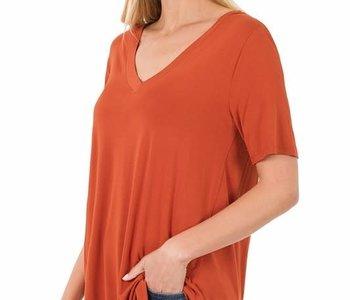 Copper V Neck Short Sleeve Top