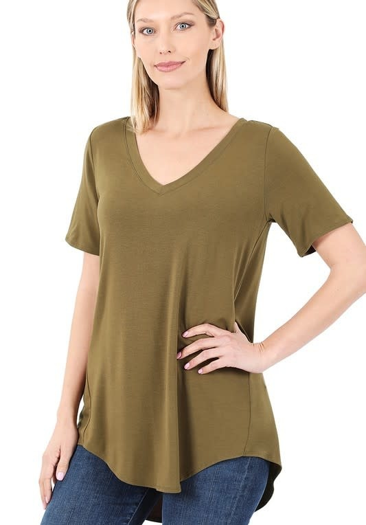 Dusty Olive V Neck Top