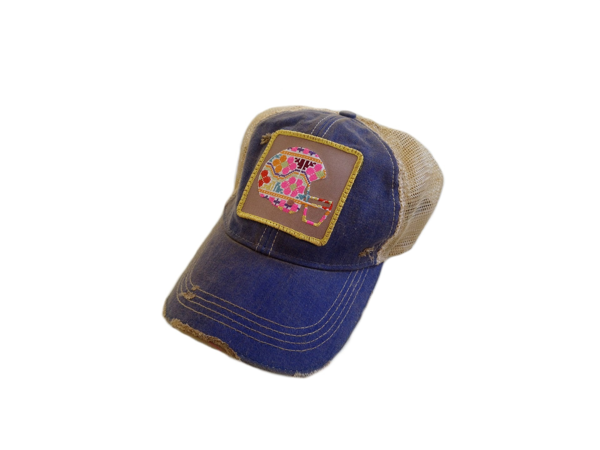 Embroidered Floral Football Helmet Patch Cap
