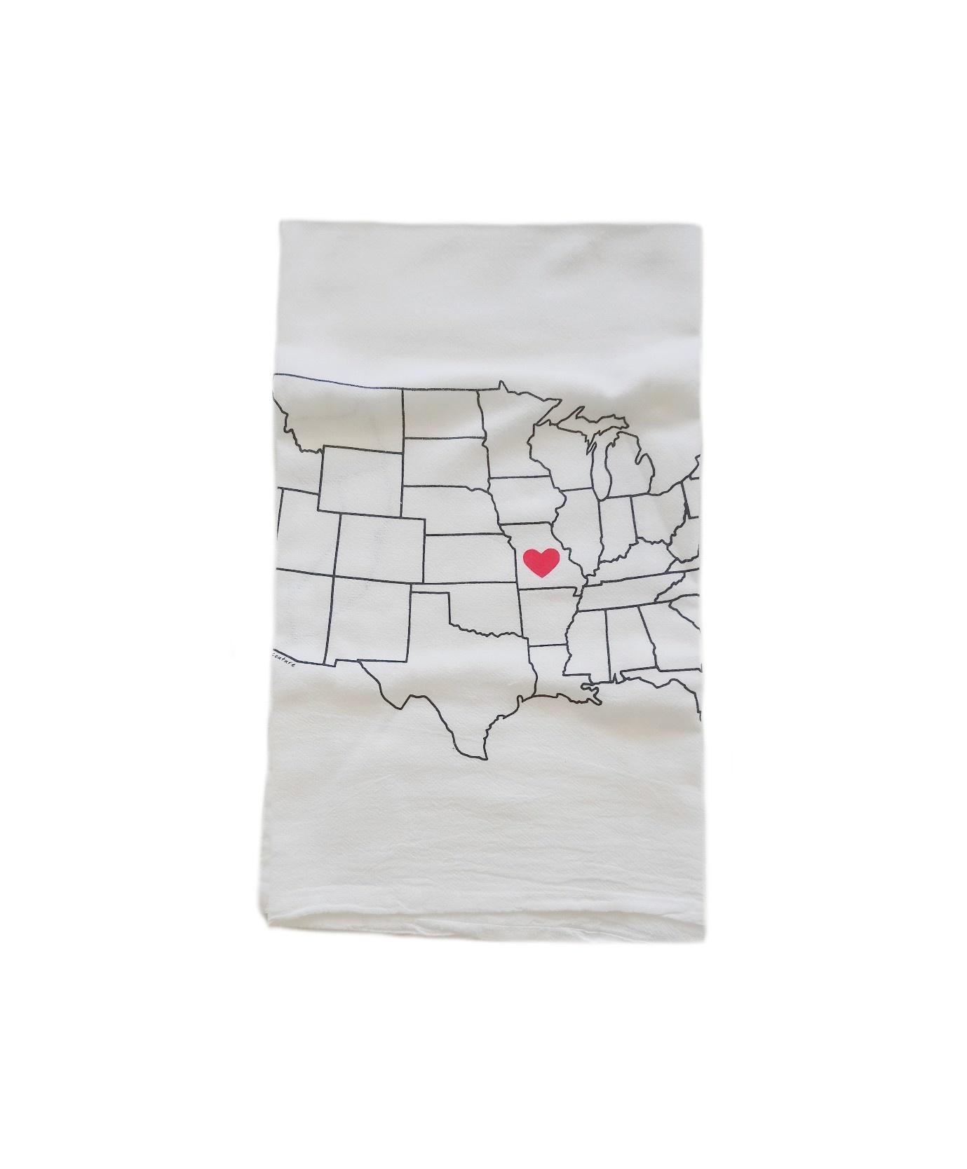 Missouri Map Flour Sack Tea Towel
