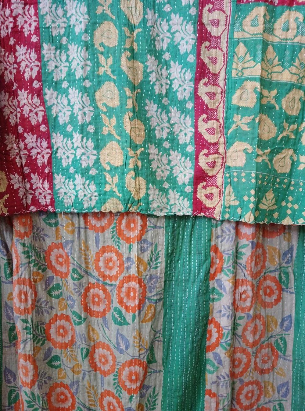 Kantha Sari Throw Blanket #753