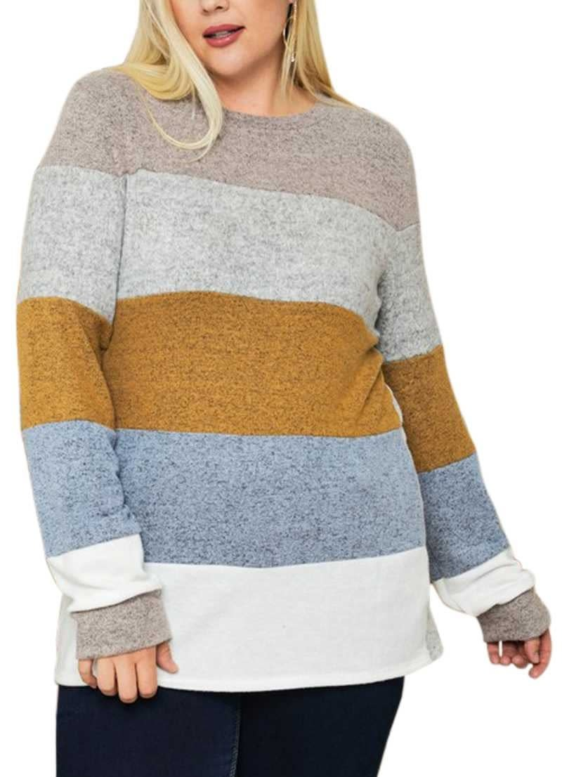 CURVY Brushed Knit Color Block Top