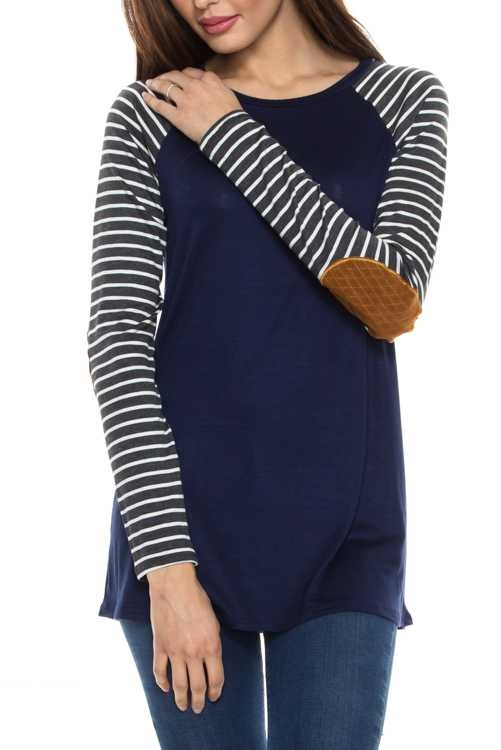 Navy Stripe Elbow Patch Top