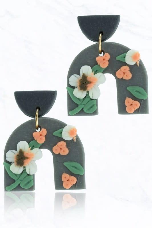 Gray Floral Horseshoe Earring