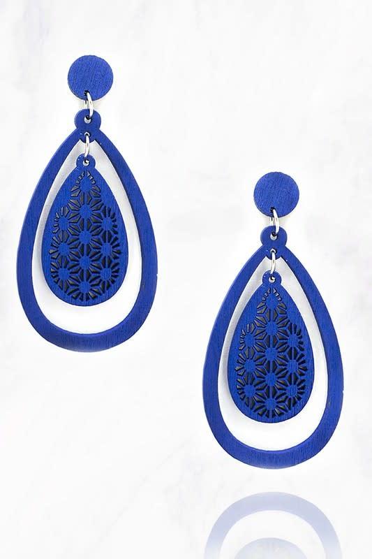 Blue Wood Teardrop Earring