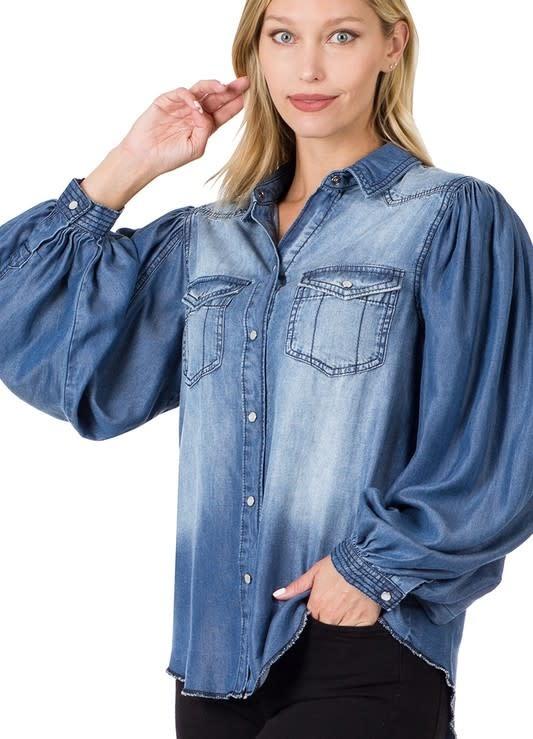 Chambray Balloon Sleeve Snap Shirt