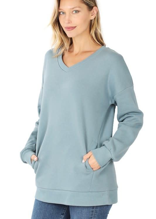 Blue Gray V Neck Sweatshirt