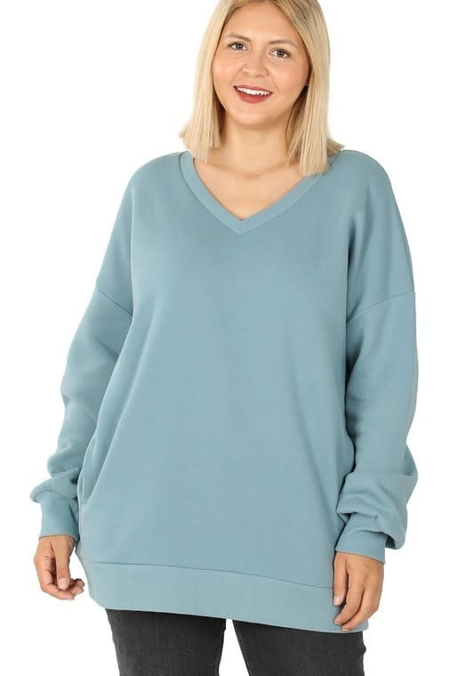 CURVY Blue Gray V Neck Sweatshirt