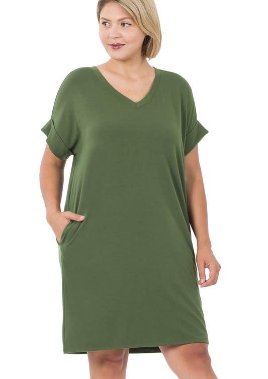 CURVY Army Green Rolled Sleeve Dress