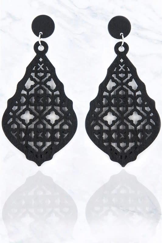 Moroccan Black Wood Teardrop Earring