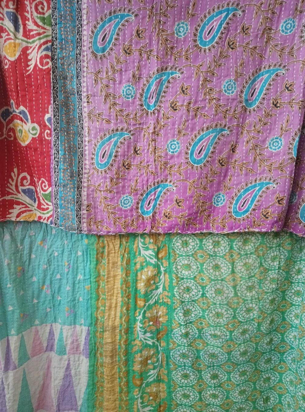 Kantha Sari Throw Blanket #767