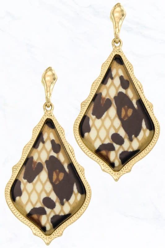 Leopard Marble Teardrop Earring