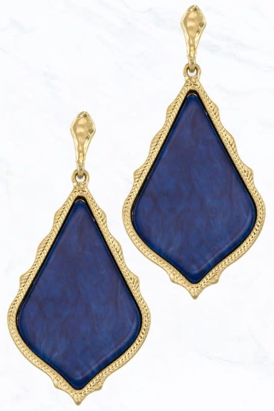 Royal Blue Marble Teardrop Earring