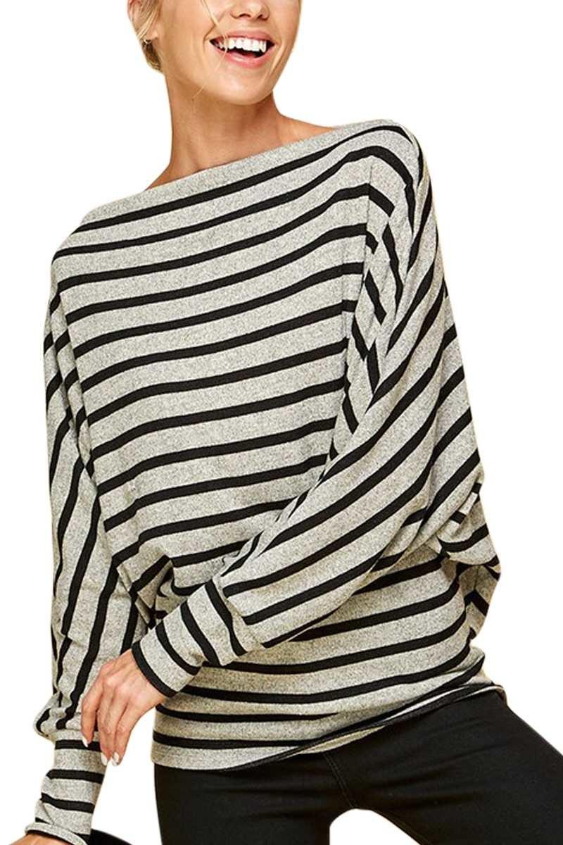 Black & Gray Stripe Dolman Top