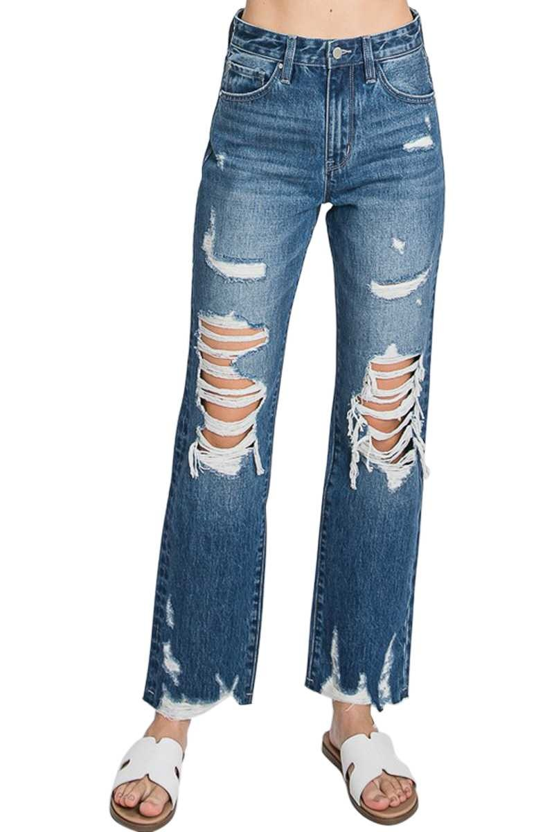 Distressed High Waist Straight Jeans