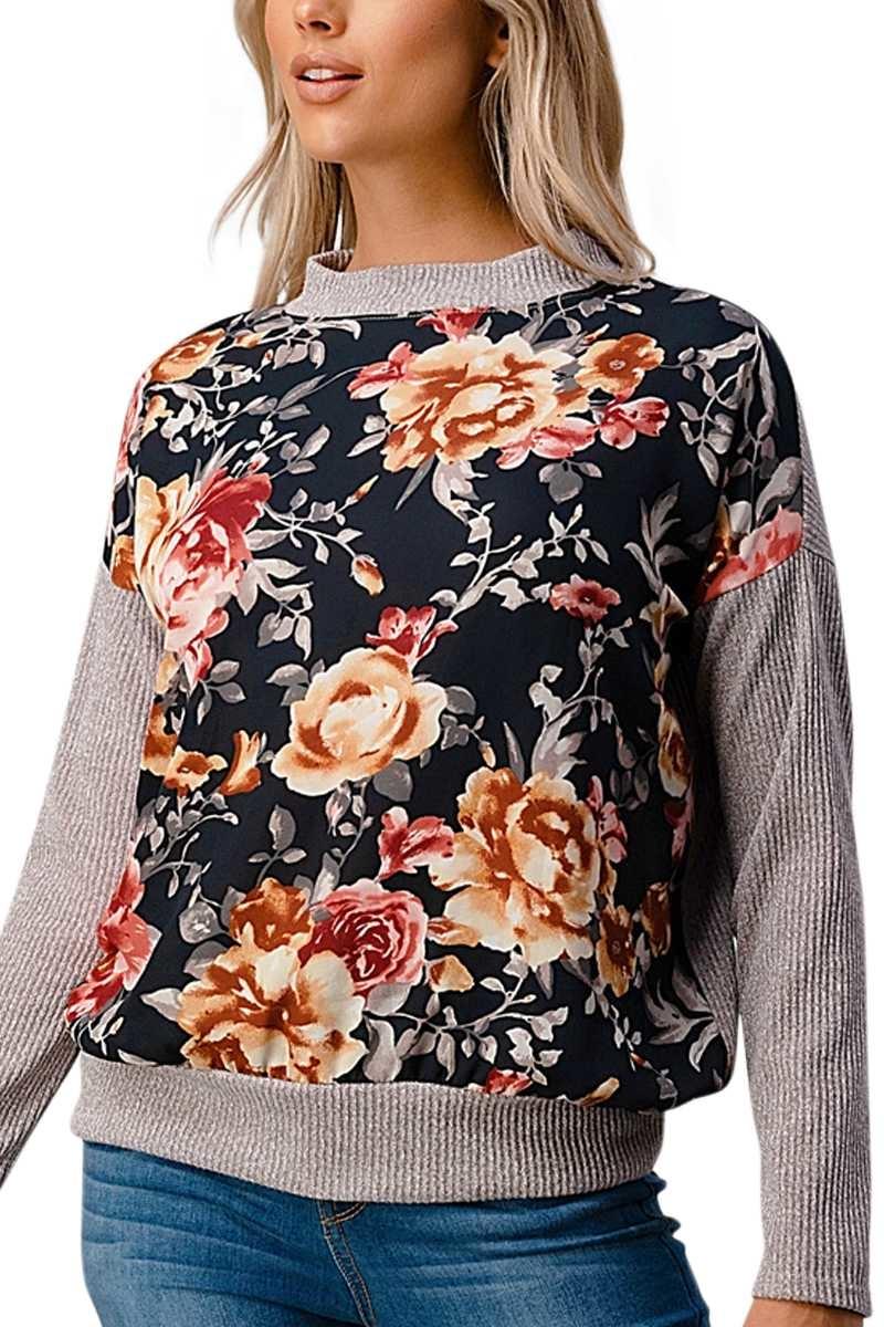 Floral Rib Knit Top