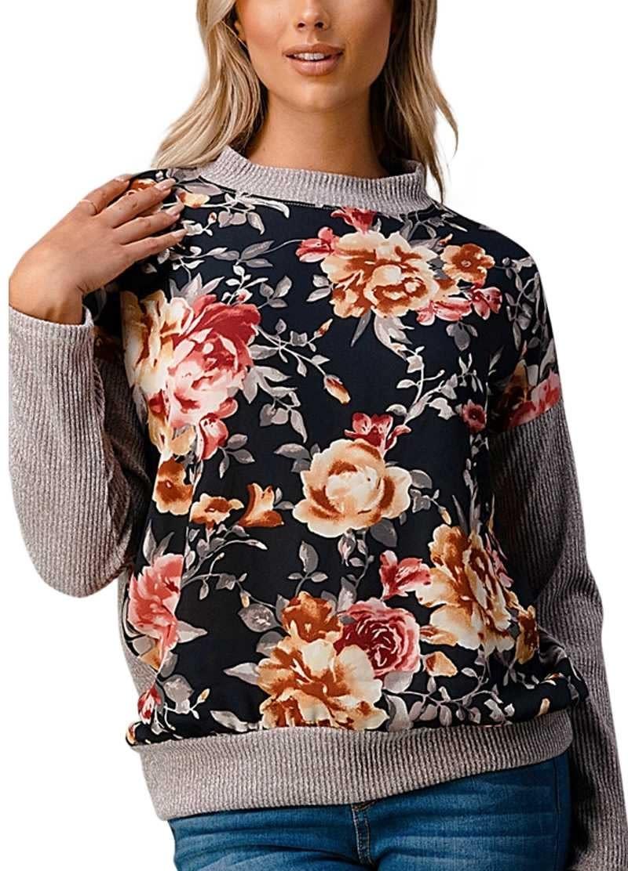 CURVY Floral Rib Knit Top