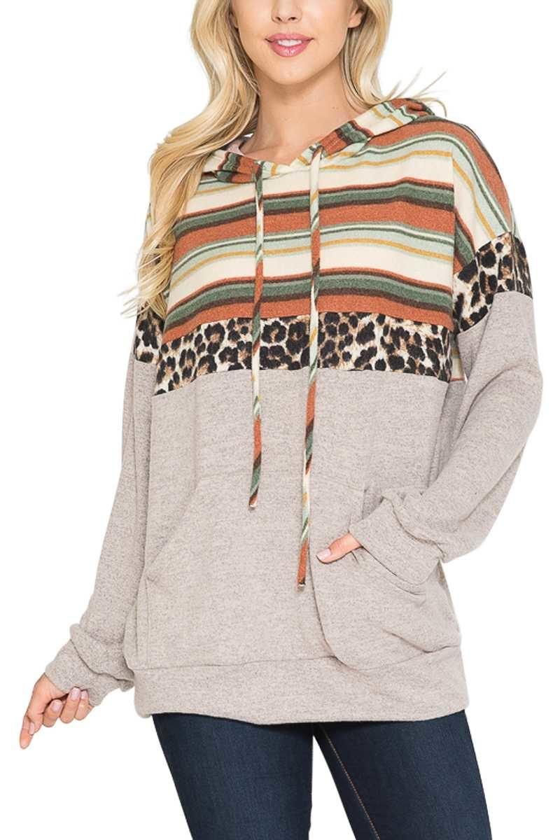 Leopard & Stripe Hoodie Top
