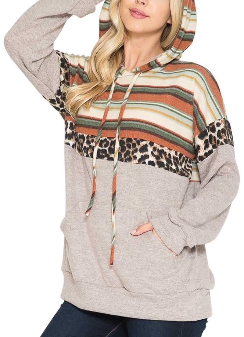 CURVY Leopard & Stripe Hoodie Top